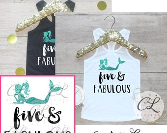 Birthday Girl Tank Top / Five Fabulous Baby Girl Clothes 5 Year Old Outfit Little Mermaid Fifth Birthday Shirt Birthday Girl Outfit 070