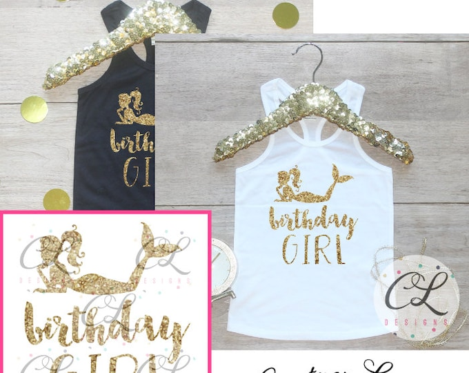 Birthday Girl Tank Top / Baby Girl Clothes 1 Year Old Outfit Little Mermaid First Birthday Shirt Birthday Girl Outfit Cake Smash Outfit 050