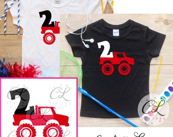 Second Birthday Monster Truck Birthday Boy Shirt / Baby Boy Clothes 2 Year Old Outfit Two Birthday TShirt 2nd Birthday Party Toddler 293