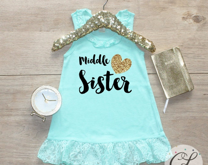 Middle Sister Dress / Baby Girl Clothes Big Sister Outfit Matching Big Sister Sibling Set Toddler Girl Pregnancy Announcement Baby Shower 02