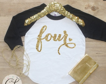 4th Birthday Girl Shirt / Baby Girl Clothes Four Fabulous 4 Year Old Outfit Fourth Birthday Shirt 4th Birthday Girl Outfit Four Raglan 001