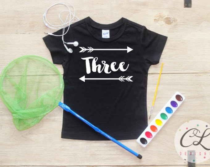 Birthday Boy Shirt / 3rd Birthday T-Shirt Tribal Arrow This Many Three Year Old Third Picture Prop Toddler Outfit Set Party Outfit Tees Boys