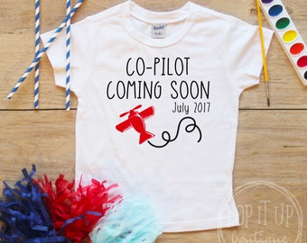 Big Brother Co-Pilot Shirt Date / Baby Boy Clothes Big Brother Plane Shirt Coming Soon Baby Announcement Airplane Toddler Shower Gift 038