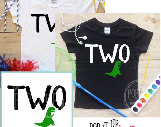 Two Dinosaur Birthday Boy Shirt / Baby Boy Clothes 2 Year Old Outfit Second Birthday TShirt 2nd Birthday Party Boy Dinosaur Dino Toddler 254
