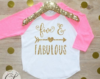 5th Birthday Girl Shirt / Baby Girl Clothes Five Fabulous 5 Year Old Outfit Fifth Birthday Shirt 5th Birthday Girl Outfit Five Raglan 180