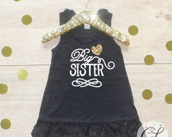 Big Sister Dress / Baby Girl Clothes Big Sister Outfit Matching Little Sister Sibling Set Toddler Girl Pregnancy Announcement Baby Shower 04