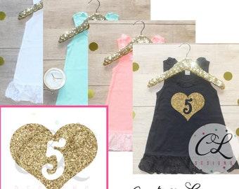 Five Heart Birthday Girl Lace Dress / Dress 009