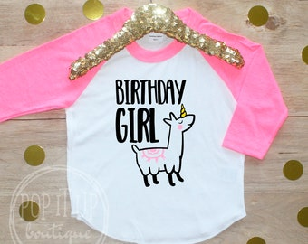 Llamicorn Birthday Girl Shirt / Baby Girl Clothes Year Old Outfit Llamacorn Birthday TShirt 3rd Birthday Party Toddler Llama Unicorn 318