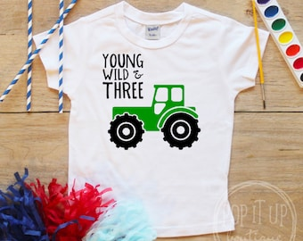 Young Wild Three Tractor Truck Birthday Boy Shirt / Baby Boy Clothes Farmer 3 Year Old Outfit Third Birthday TShirt 3rd Party Toddler 308