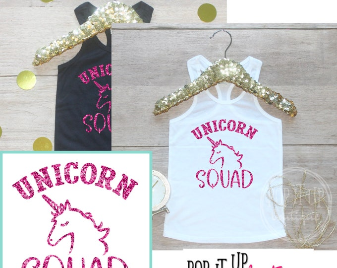 Unicorn Squad Birthday Girl Tank Top / Baby Girl Clothes Year Old Outfit Birthday Shirt Outfit Unicorn Party Tshirt One Two Three Four 299