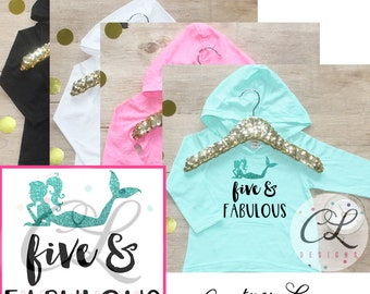 Birthday Girl Shirt / Baby Girl Clothes Five and Fabulous Mermaid 5 Year Old Outfit Fifth Birthday Shirt 5th Birthday Girl Hoodie Party 070
