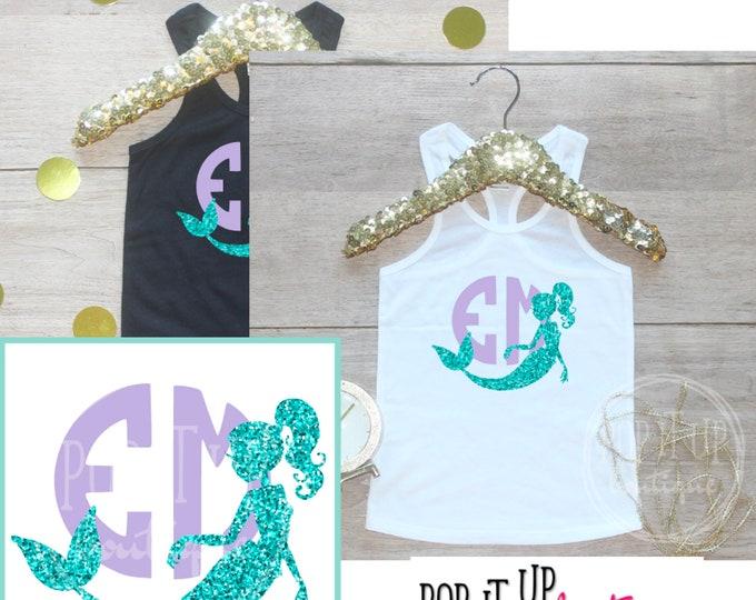Personalized Mermaid Birthday Girl Tank Top / Monogram Initials Baby Girl Clothes Birthday Girl Outfit Mermaid Third Birthday Shirt 302