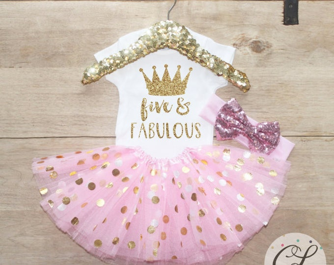 Five & Fabulous Birthday  Outfit Set / Crown T-Shirt 206