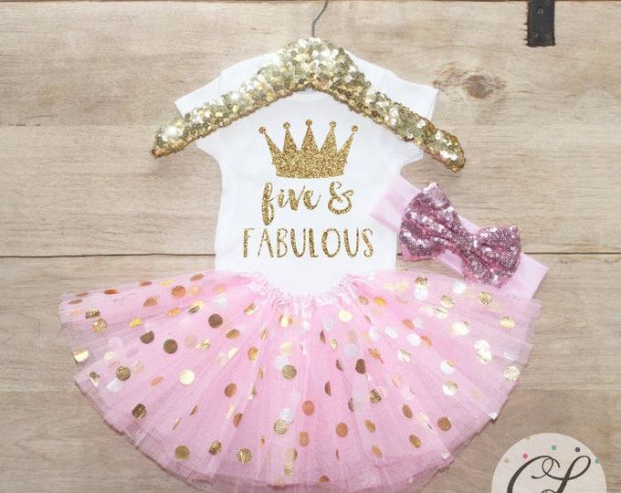 Five & Fabulous Birthday Tutu Outfit Set / Crown T-Shirt 206