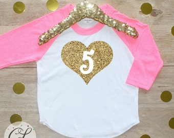 5th Birthday Girl Shirt / Baby Girl Clothes Five Fabulous 5 Year Old Outfit Fifth Birthday Shirt 5th Birthday Girl Outfit Five Raglan 009