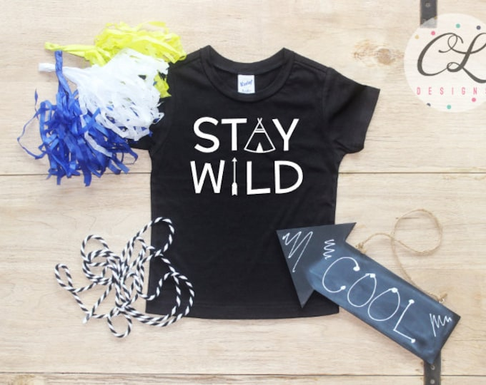 Stay Wild Shirt / Birthday Boy Baby Boy Clothes Arrow 1 Year Old Outfit Birthday Boy TShirt Birthday Cake Smash Outfit Bodysuit Toddler 040