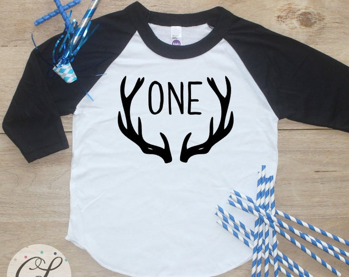 Birthday Boy Shirt / Baby Boy Clothes 1 Year Old Outfit First Birthday TShirt 1st Cake Smash Outfit Deer Antlers One Raglan Toddler 149