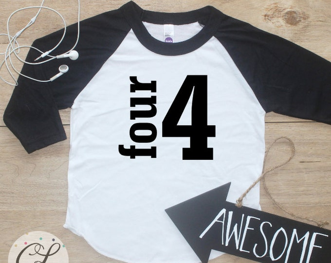 Birthday Boy Shirt / Baby Boy Clothes 4 Year Old Outfit Fourth Birthday TShirt 4th Birthday Boy Outfit Birthday Party Four Raglan Toddler 19