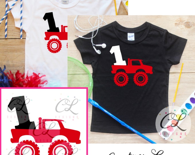 First Birthday Monster Truck Birthday Boy Shirt / Baby Boy Clothes 1 Year Old Outfit One Birthday TShirt 1st Birthday Party Toddler 293