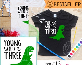Young Wild & Three Dinosaur Birthday Boy Shirt / Baby Boy Clothes 3 Year Old Outfit Third Birthday TShirt 3rd Birthday Boy Party Toddler 251