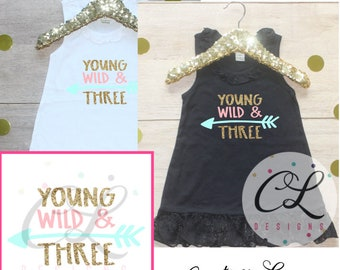 Birthday Girl Dress Shirt / Baby Girl Clothes Young Wild Three 3 Year Old Outfit Third Birthday Shirt 3rd Birthday Girl Outfit Tshirt 238
