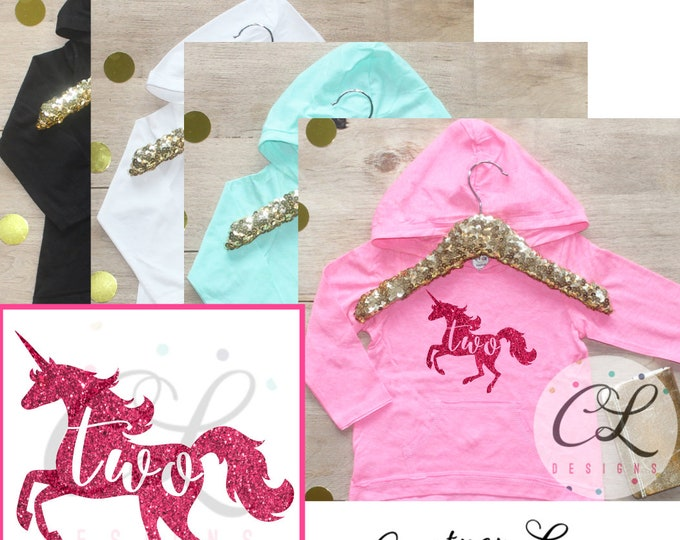 Unicorn Birthday Girl Shirt / Baby Girl Clothes 2 Year Old Outfit Second Birthday Shirt 2nd Birthday Girl Outfit Hoodie Two Shirt 183