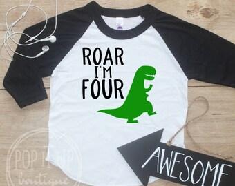 Roar Im Four Dinosaur Birthday Boy Shirt Baby Clothes 4 Year Old Outfit Fourth TShirt 4th Party Raglan 314