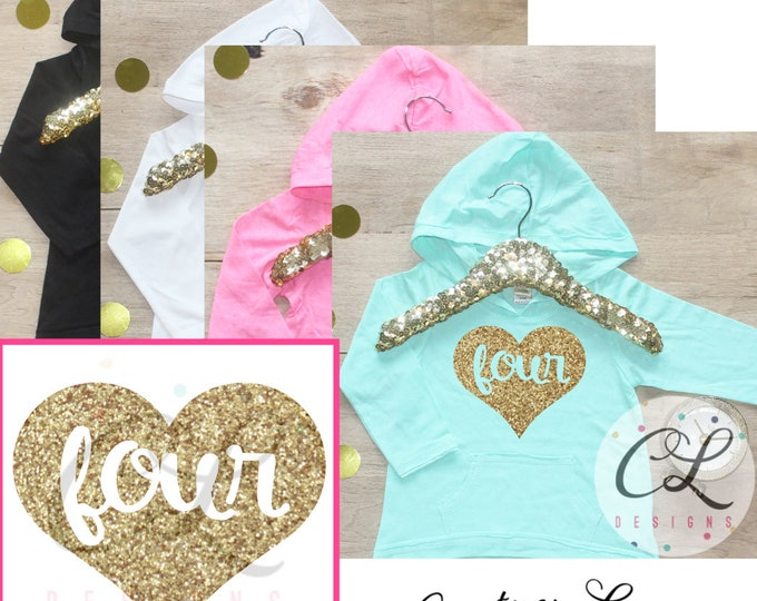 Birthday Girl Shirt / Baby Girl Clothes 4 Year Old Outfit Fourth Birthday Shirt 4th Birthday Girl Outfit Hoodie Birthday Party Four Shirt 10