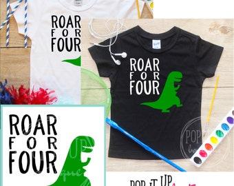 Roar for Four Dinosaur Birthday Boy Shirt / Baby Boy Clothes 4 Year Old Outfit Fourth Birthday TShirt 4th Birthday Boy Party Toddler 303