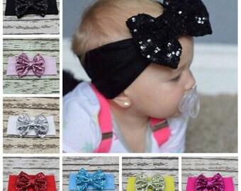 Sequin Bow Headband (MANY colors)