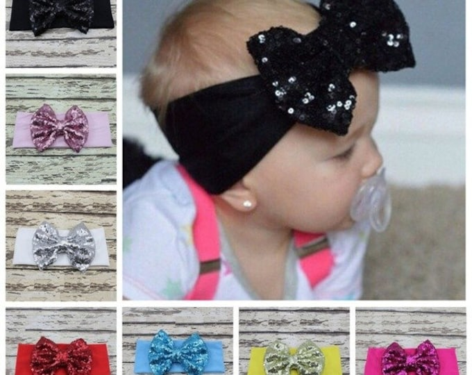 Sequin Bow Headband (MANY colors)