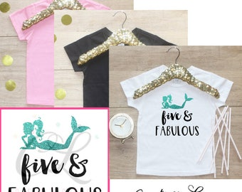 Birthday Girl Shirt / Five Fabulous Toddler Girl Clothes 5 Year Old Outfit Fifth Birthday Shirt 5th Birthday Little Mermaid Under Sea 070