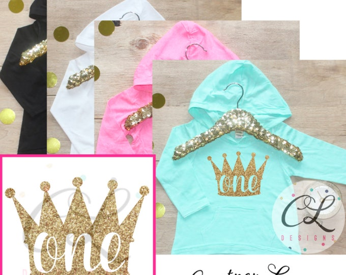 Birthday Girl Shirt / Baby Girl Clothes 1 Year Old Outfit First Birthday Shirt 1st Outfit Hoodie Cake Smash Outfit One Princess Crown 011