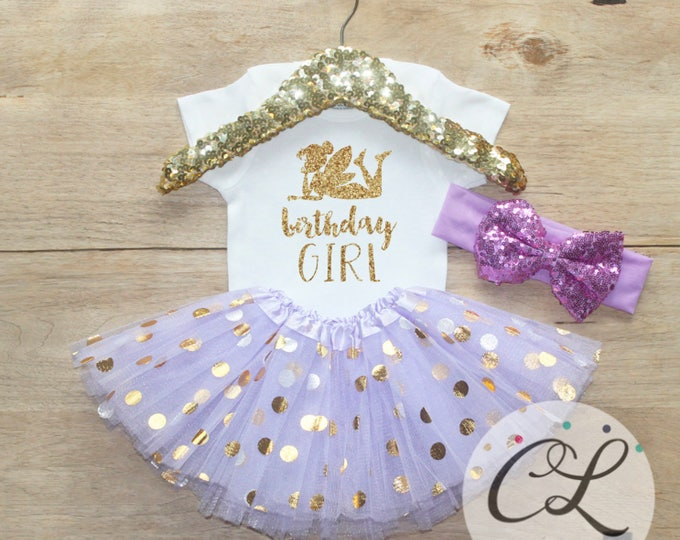 Birthday Girl Outfit / Baby Girl Clothes T-Shirt 1 Year Old  Outfit One Birthday Set 1st Birthday Girl Outfit Fairy Tinkerbell  061