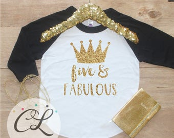 Birthday Girl Shirt / Girl Clothes Five Fabulous 5 Year Old Outfit Fifth Birthday Shirt 5th Birthday Girl Five Raglan Princess Crown 206
