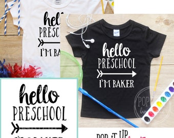 Back to School Boys Shirt / Preschool Grade Shirt 1st Day of School Shirt Kindergarten Tee Pre-K Class Outfit T-Shirt First Personalized 235