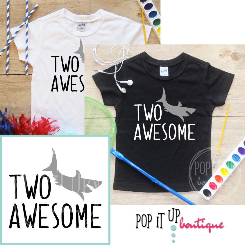 Two Awesome Shark Birthday Boy Shirt Baby Clothes 2 Year Old