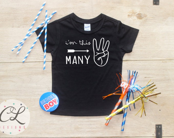 I'm This Many Birthday Boy Shirt / Baby Boy Clothes 3 Year Old Outfit Third Birthday TShirt 3rd Outfit Birthday Party Three Toddler 113