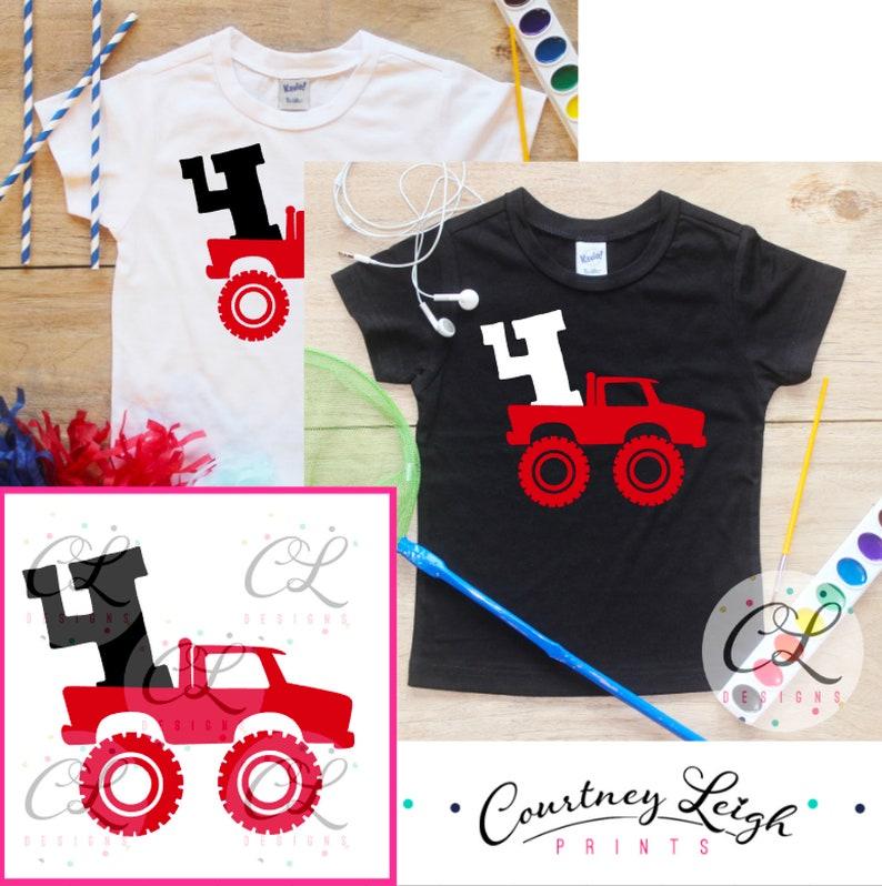 45b946b5 Fourth Birthday Monster Truck Birthday Boy Shirt / Baby Boy | Etsy