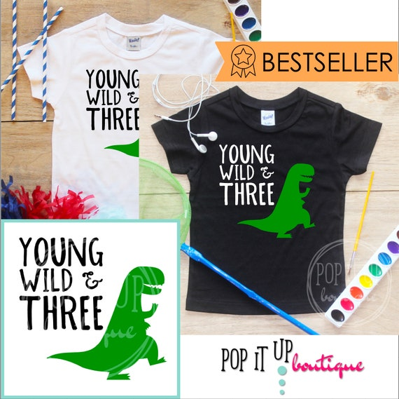 Dinosaur Birthday Boy Shirt Baby Clothes Young Wild