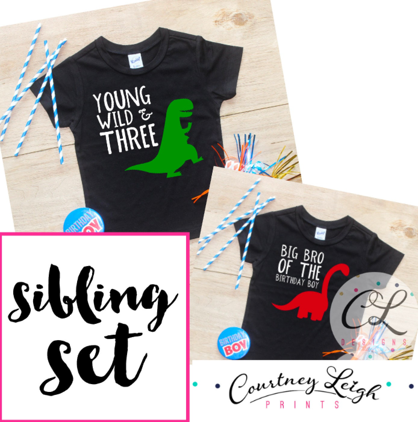 Birthday Boy Sibling Set Young Wild Three Dinosaur Shirt Big Brother Little Bro Party Bodysuit Dino 252