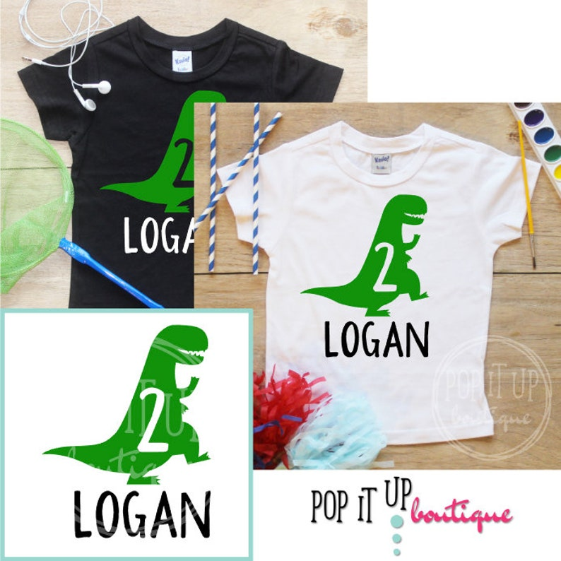 d215f283a Personalized Two Dinosaur Birthday Boy Shirt / Baby Boy | Etsy
