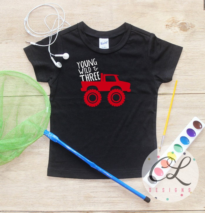 Young Wild Three Monster Truck Birthday Boy Shirt Baby Clothes 3 Year Old Outfit Third TShirt 3rd Party Toddler 275