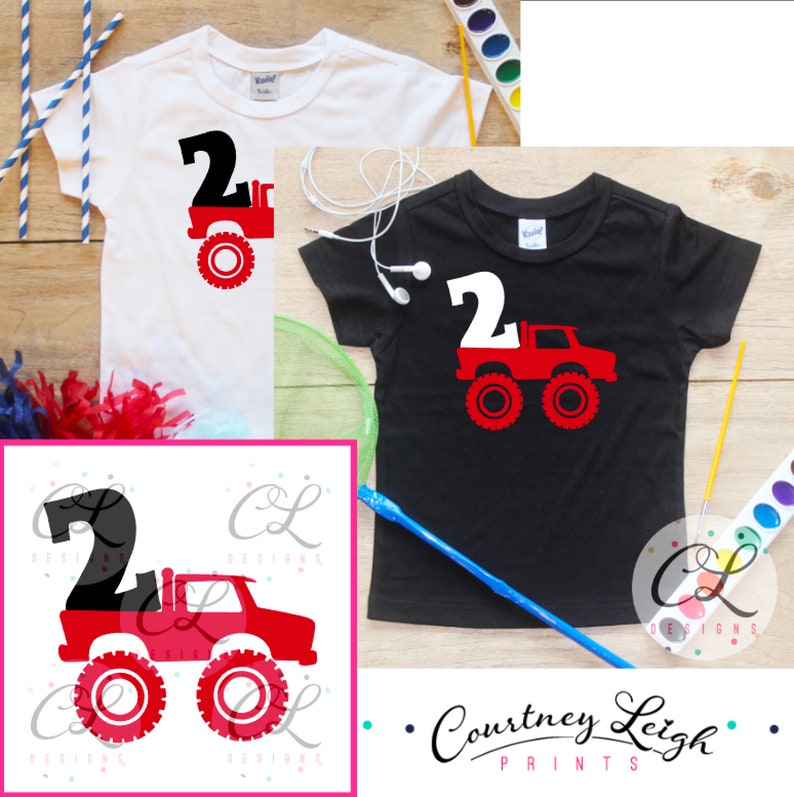 f2b88bc2 Second Birthday Monster Truck Birthday Boy Shirt / Baby Boy | Etsy