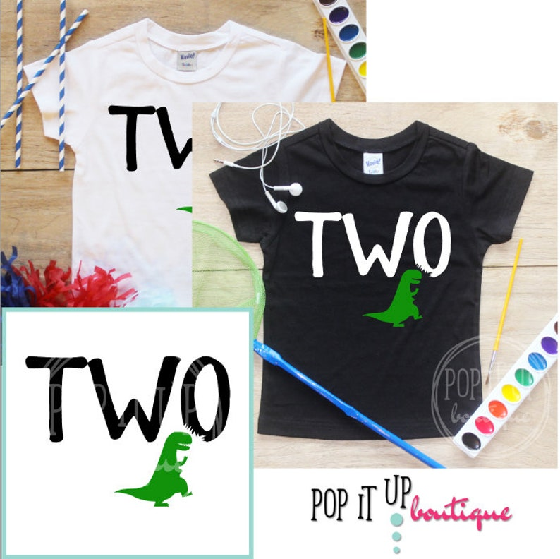 Two Dinosaur Birthday Boy Shirt Baby Clothes 2 Year Old