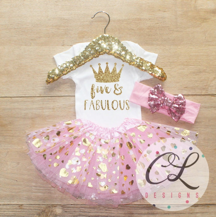 Fifth Birthday Outfit Baby Girl Clothes Five And Fabulous 5 Year