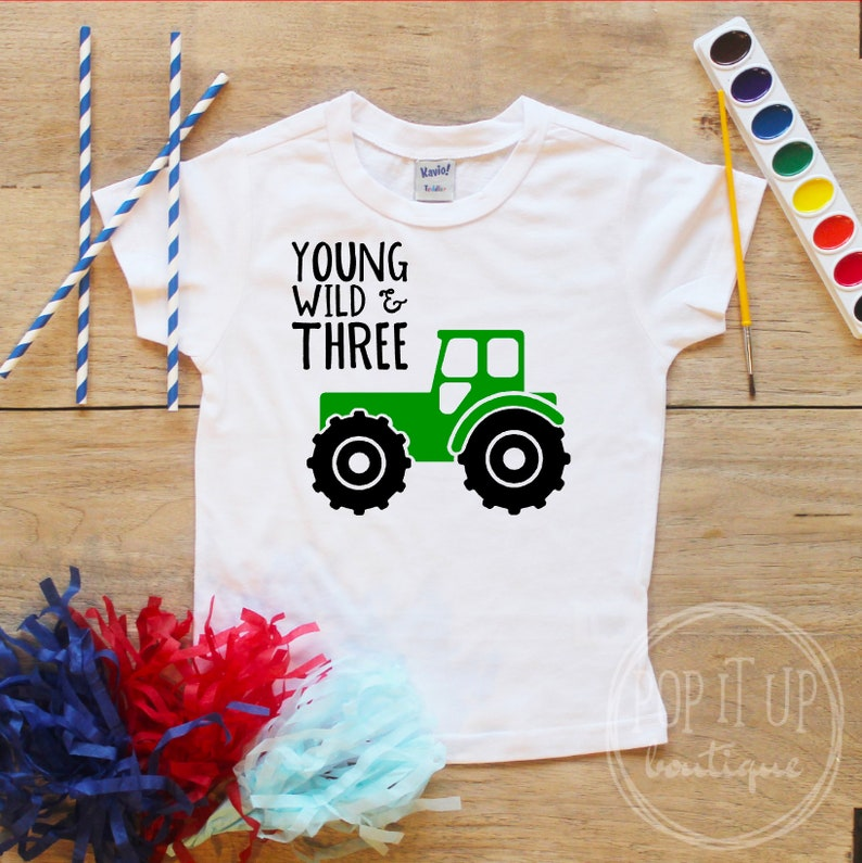 Young Wild Three Tractor Truck Birthday Boy Shirt Baby