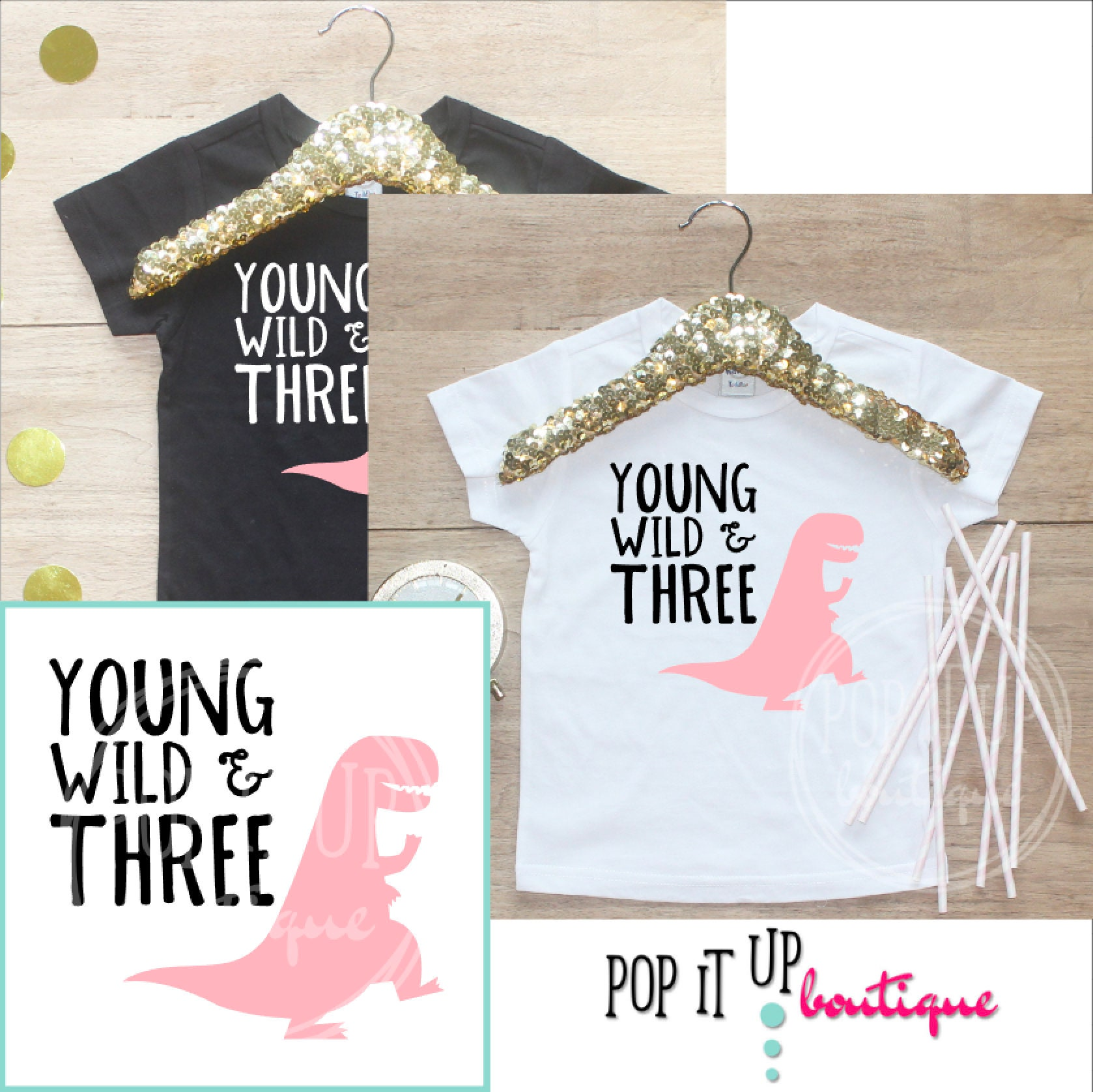 Young Wild Three Dinosaur Birthday Girl Shirt Baby Clothes 3 Year Old Outfit Third TShirt 3rd Party Toddler 251