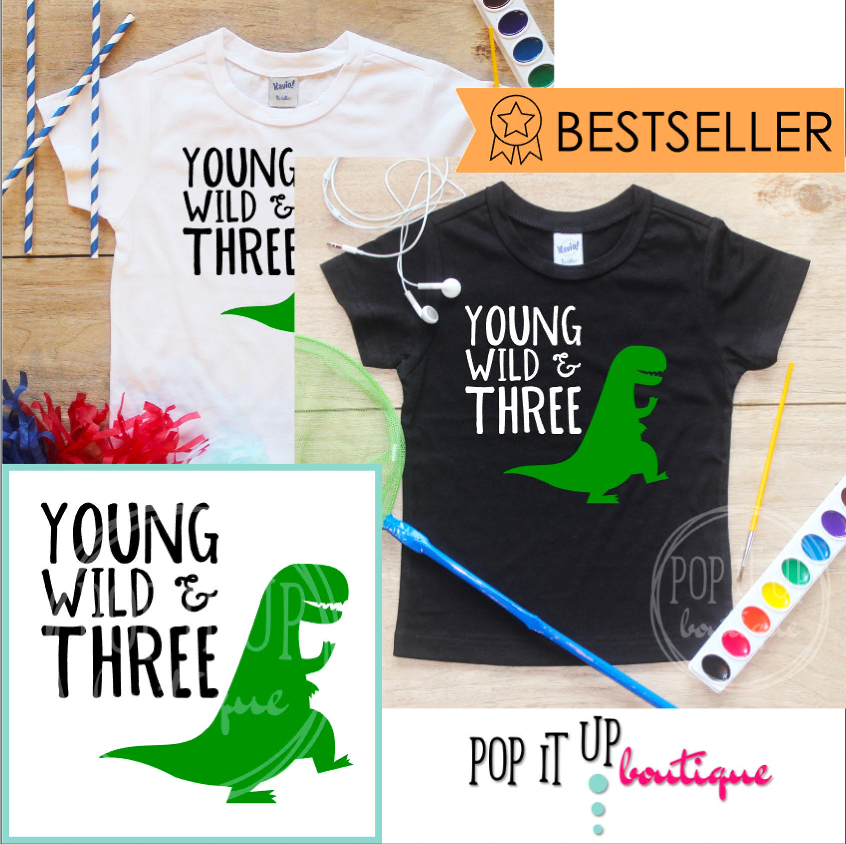 Young Wild Three Dinosaur Birthday Boy Shirt Baby Clothes 3 Year Old Outfit Third TShirt 3rd Party Toddler 251
