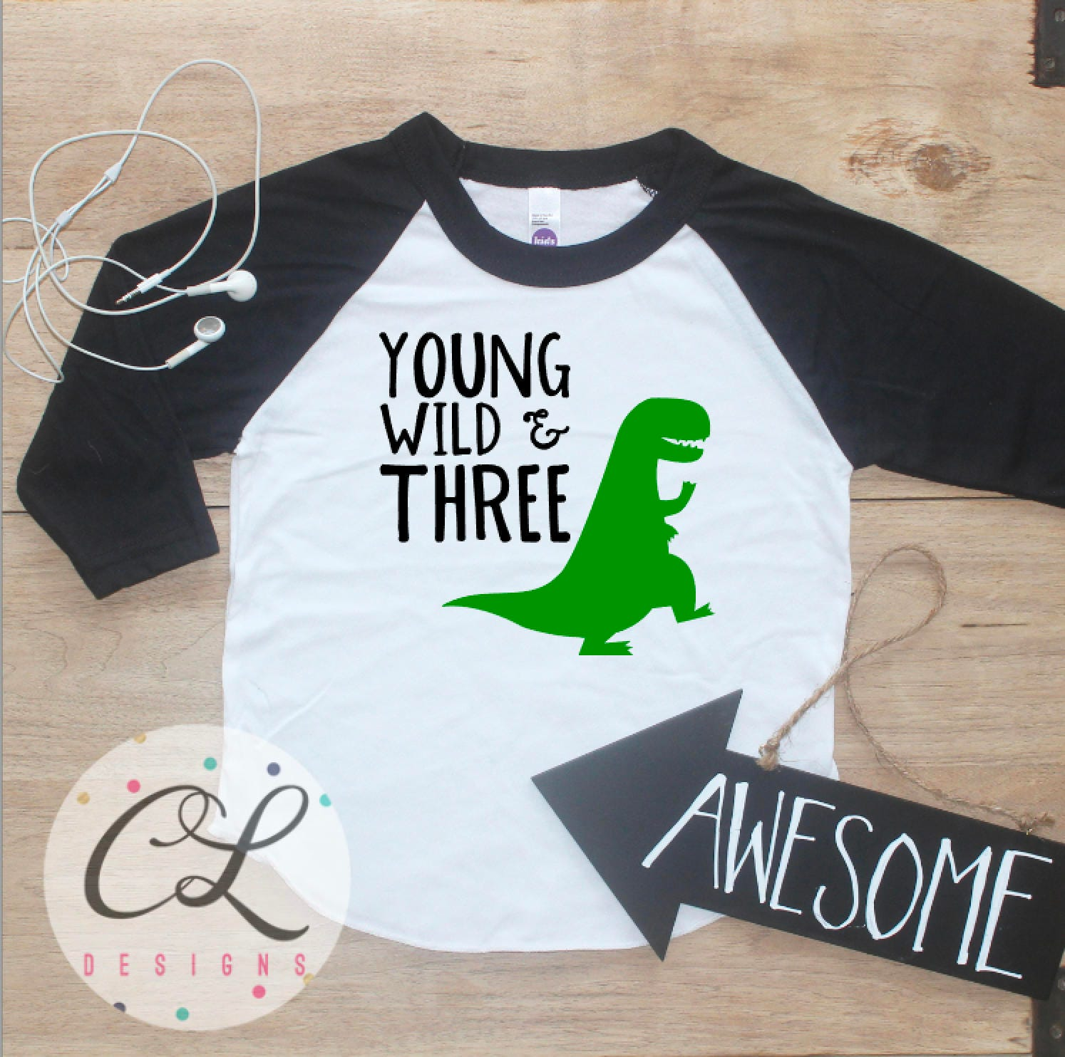 Young Wild Three Dinosaur Birthday Boy Shirt Baby